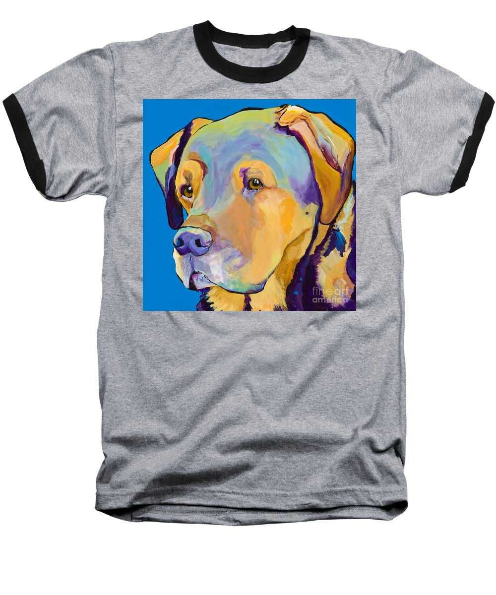 Dog Portrait Baseball T-Shirt featuring the painting Gunner by Pat Saunders-White