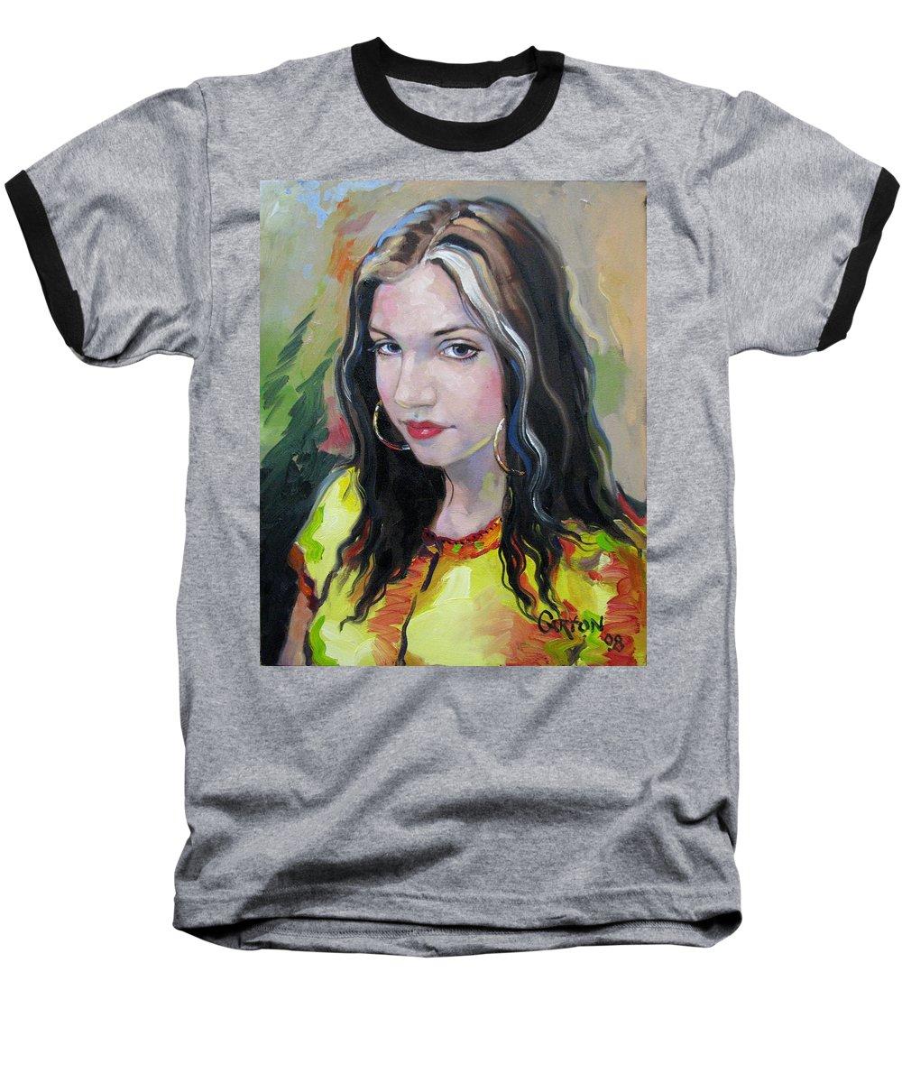 Gypsy Baseball T-Shirt featuring the painting Gypsy Girl by Jerrold Carton