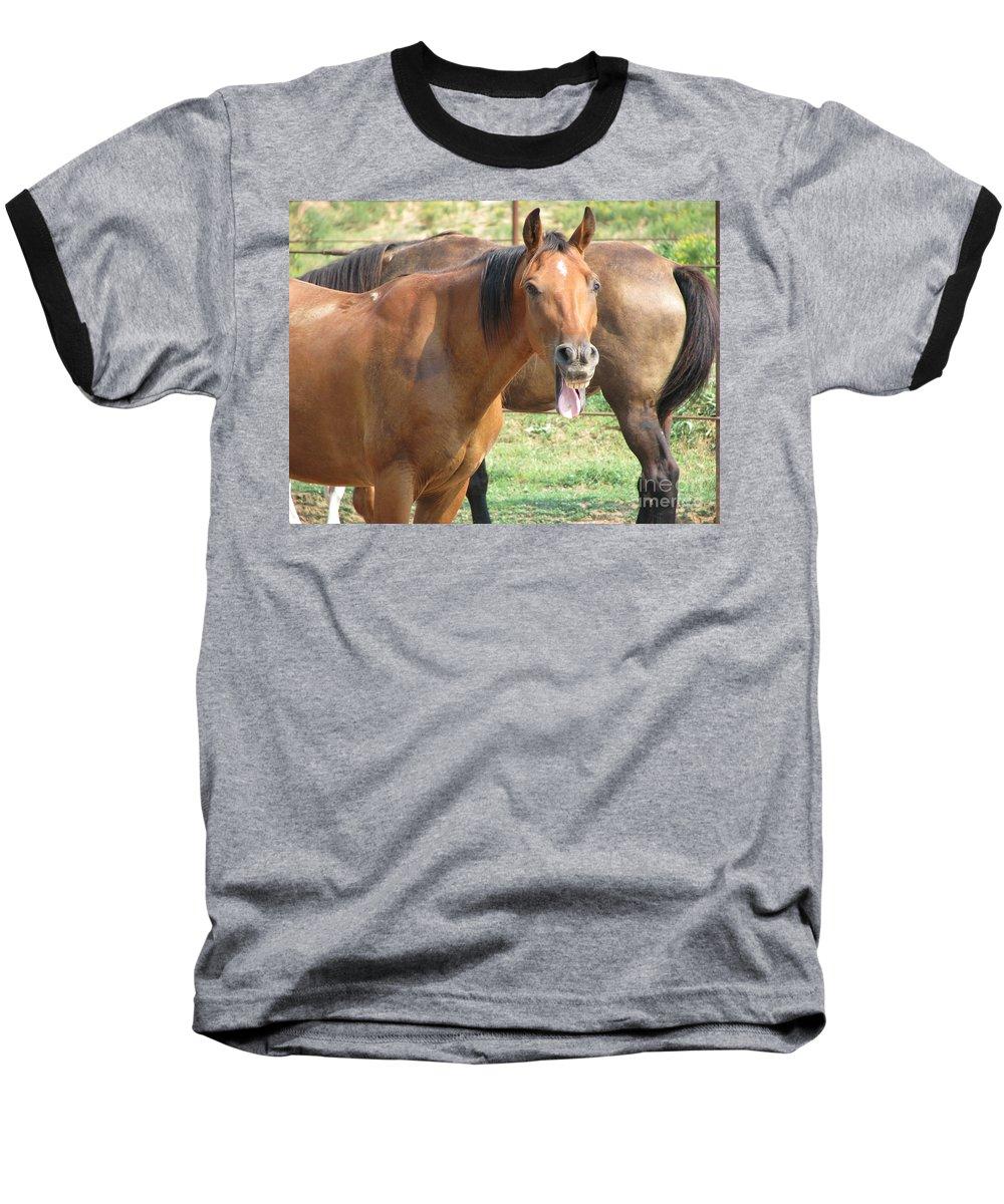 Horse Baseball T-Shirt featuring the photograph Haaaaa by Amanda Barcon