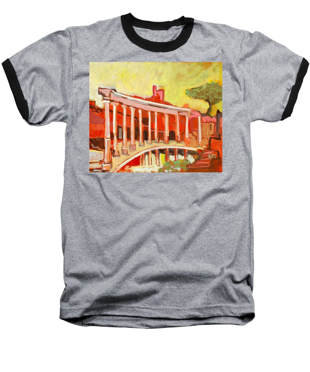 Villa Baseball T-Shirt featuring the painting Hadrian's Villa by Kurt Hausmann