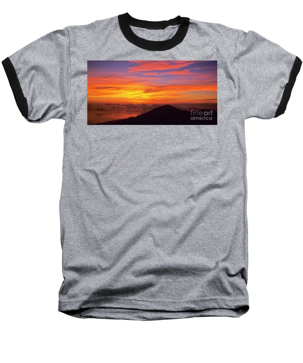 Nature Baseball T-Shirt featuring the photograph Haleakala Sunrise Colors IIi by Jim Cazel