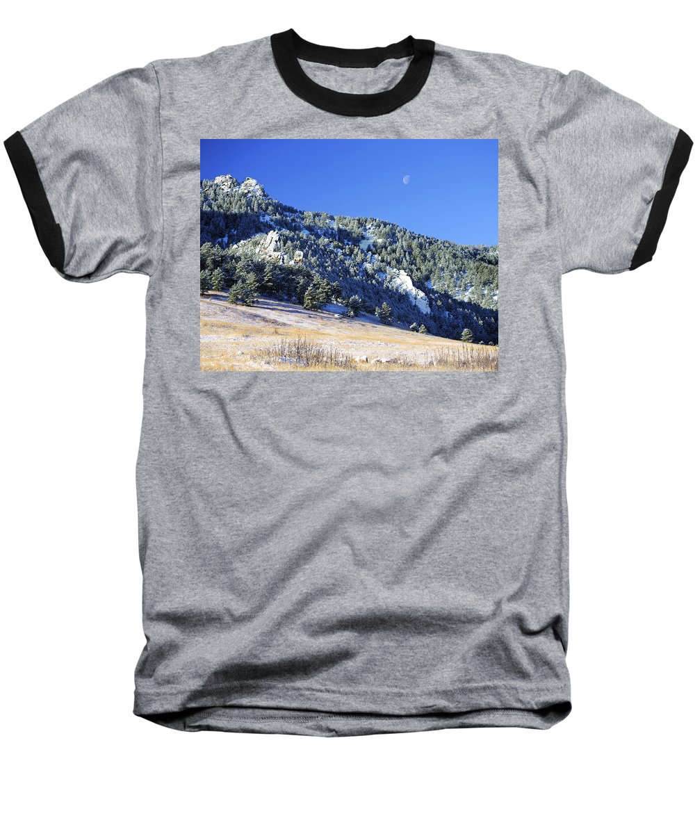 Nature Baseball T-Shirt featuring the photograph Half Moon Over The Flatirons by Marilyn Hunt