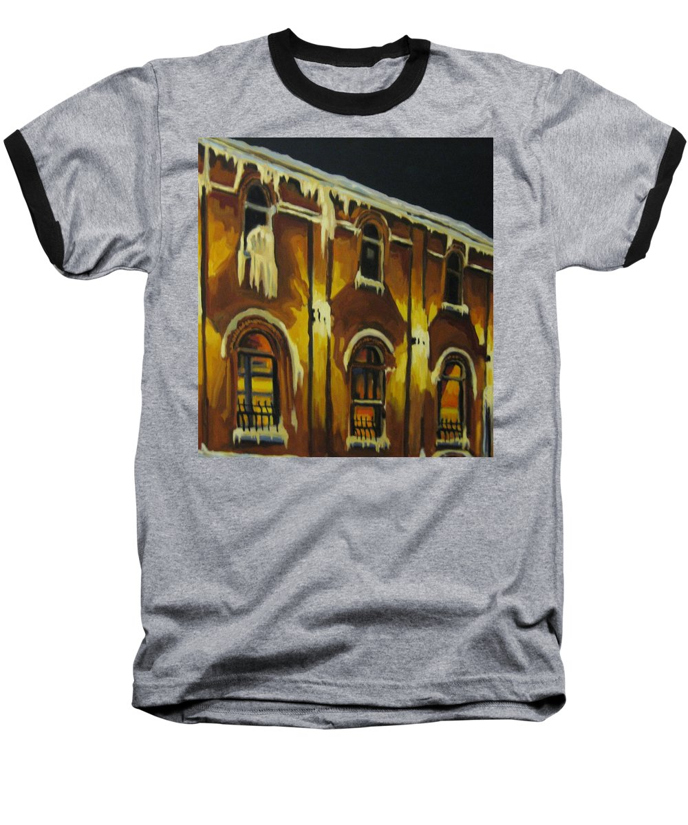 Urban Landscapes Baseball T-Shirt featuring the painting Halifax Ale House In Ice by John Malone