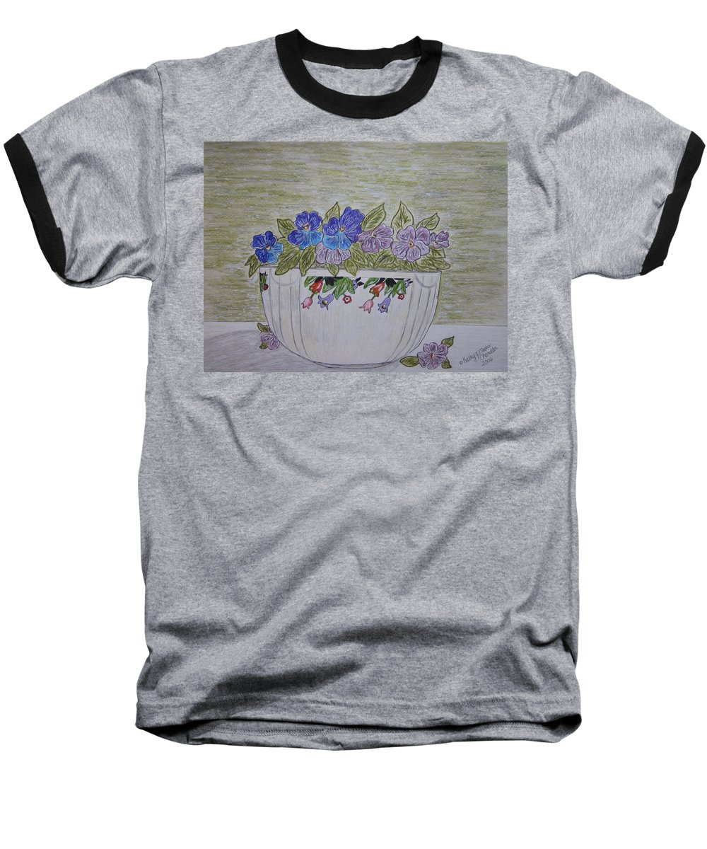 Hall China Baseball T-Shirt featuring the painting Hall China Crocus Bowl With Violets by Kathy Marrs Chandler