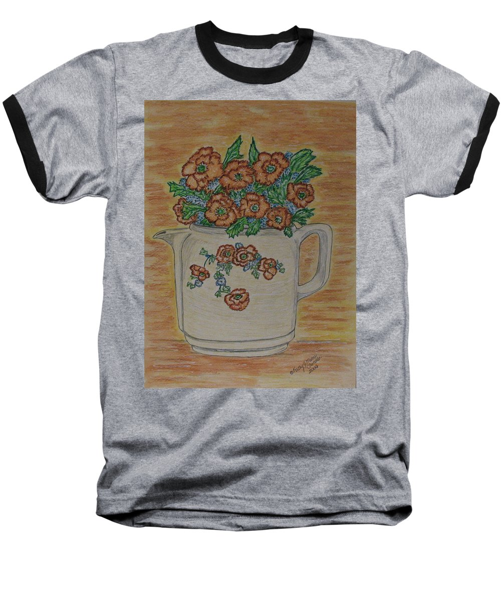 Hall China Baseball T-Shirt featuring the painting Hall China Orange Poppy And Poppies by Kathy Marrs Chandler
