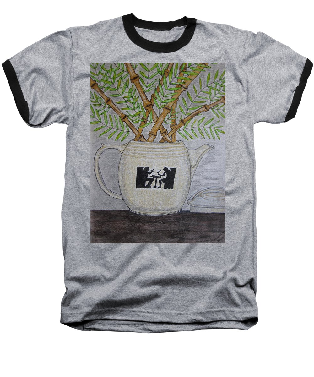 Hall China Baseball T-Shirt featuring the painting Hall China Silhouette Pitcher With Bamboo by Kathy Marrs Chandler
