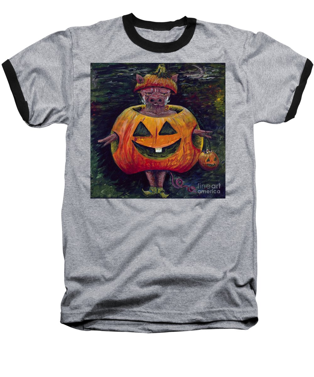 Halloween Baseball T-Shirt featuring the painting Halloween Hog by Nadine Rippelmeyer
