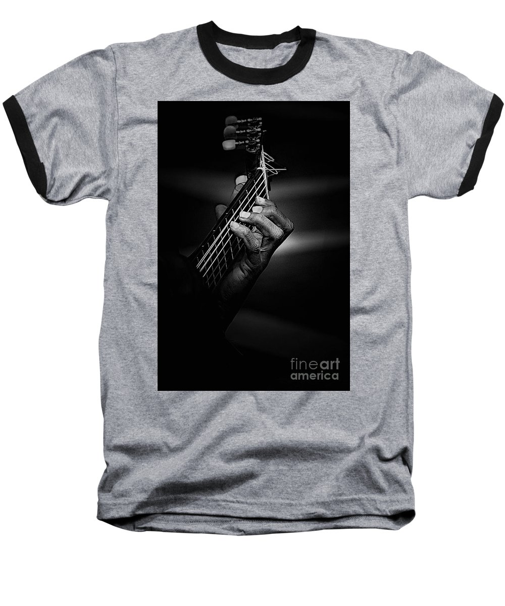 Guitar Baseball T-Shirt featuring the photograph Hand Of A Guitarist In Monochrome by Sheila Smart Fine Art Photography