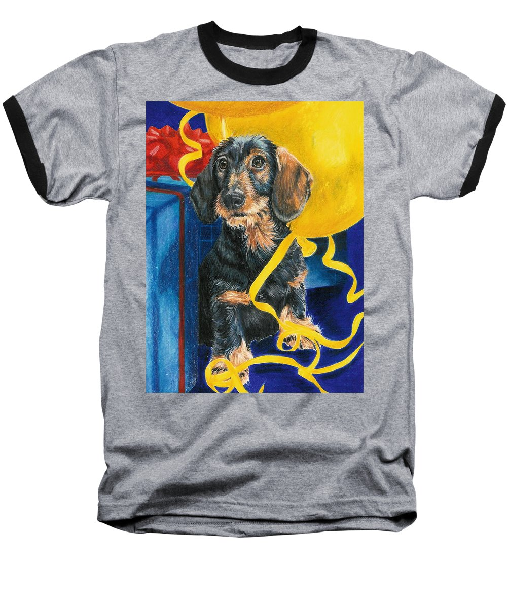 Dogs Baseball T-Shirt featuring the drawing Happy Birthday by Barbara Keith