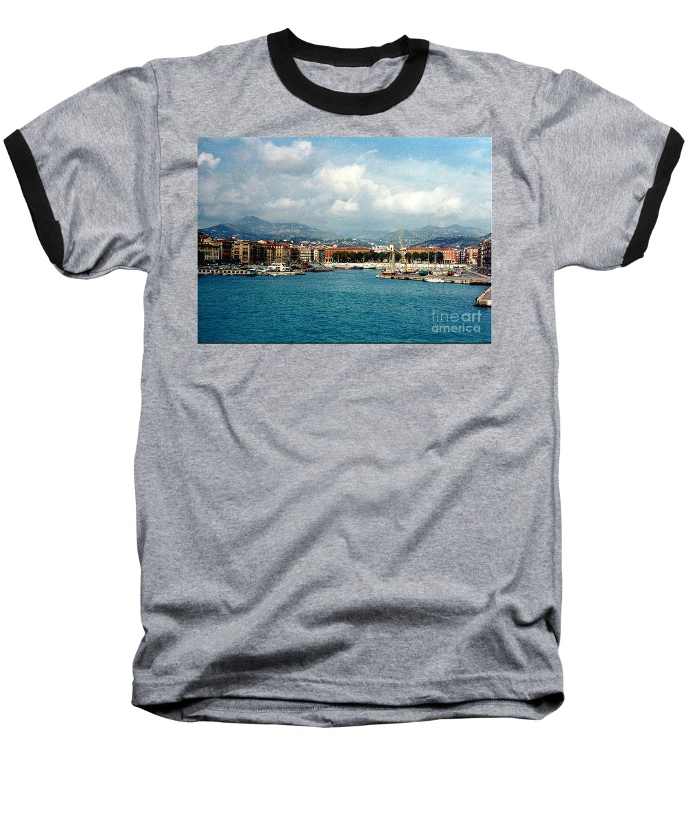 Landscape Baseball T-Shirt featuring the photograph Harbor Scene In Nice France by Nancy Mueller