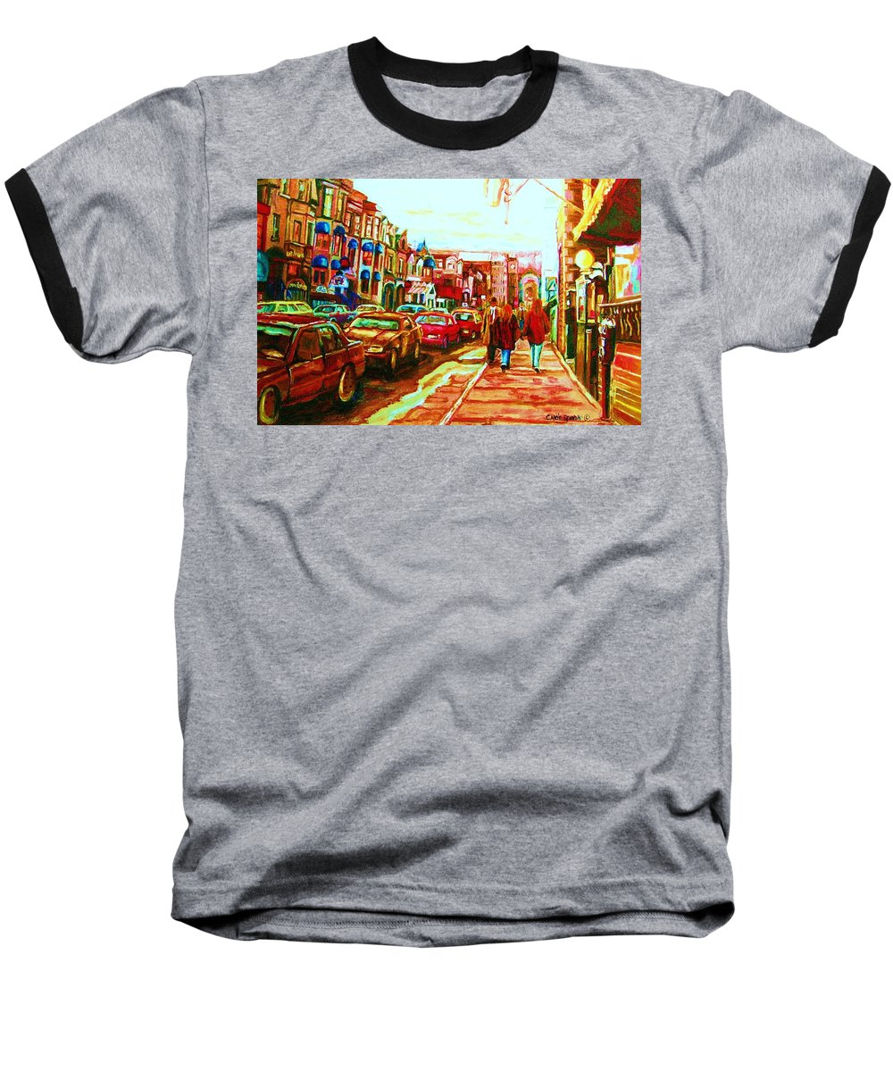 Montreal Streetscenes Baseball T-Shirt featuring the painting Hard Rock On Crescent by Carole Spandau