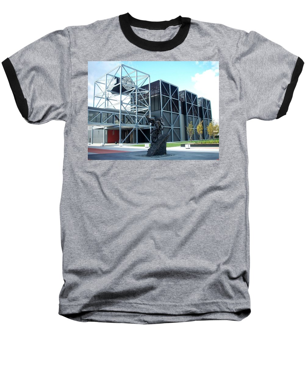 Architechture Baseball T-Shirt featuring the photograph Harley Museum And Statue by Anita Burgermeister