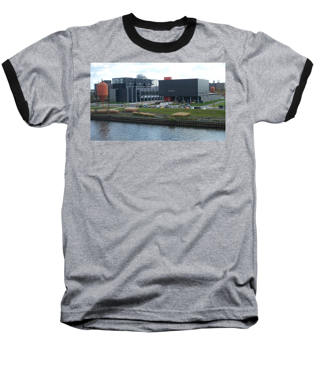 Architechture Baseball T-Shirt featuring the photograph Harley Museum Milwaukee by Anita Burgermeister
