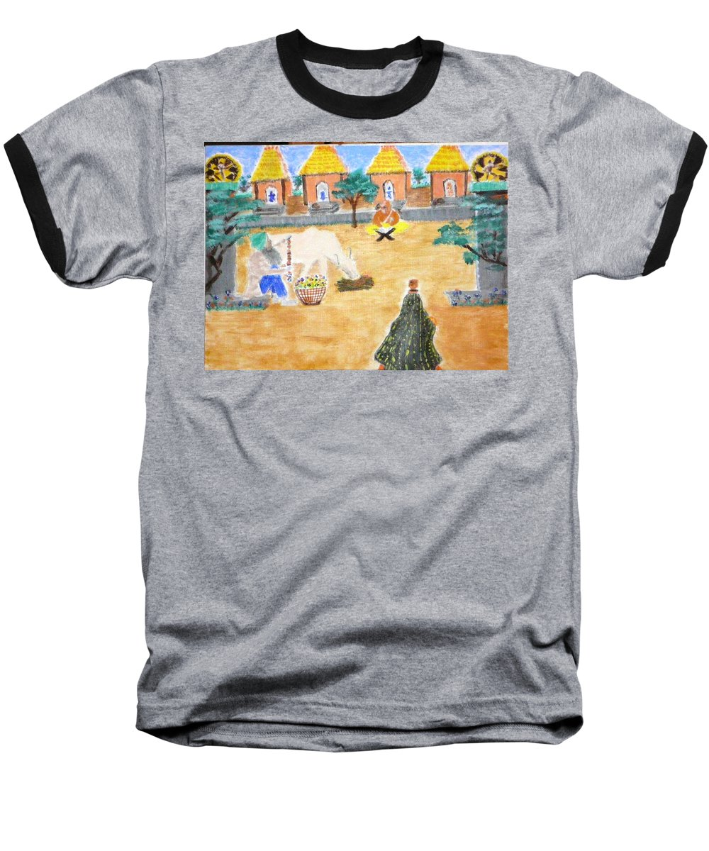 Baseball T-Shirt featuring the painting Harmony by R B