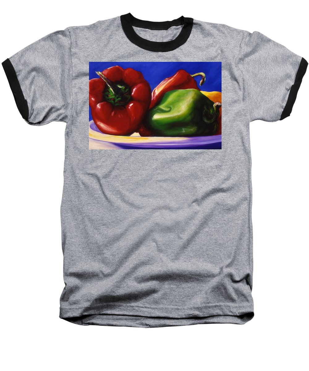Still Life Baseball T-Shirt featuring the painting Harvest Festival Peppers by Shannon Grissom