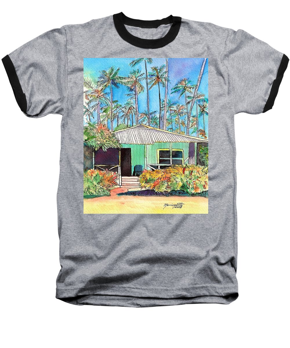 Cottage Baseball T-Shirt featuring the painting Hawaiian Cottage I by Marionette Taboniar
