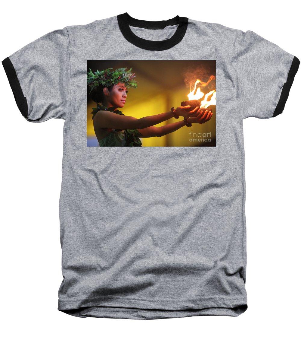 Fire Baseball T-Shirt featuring the photograph Hawaiian Dancer And Firepots by Nadine Rippelmeyer