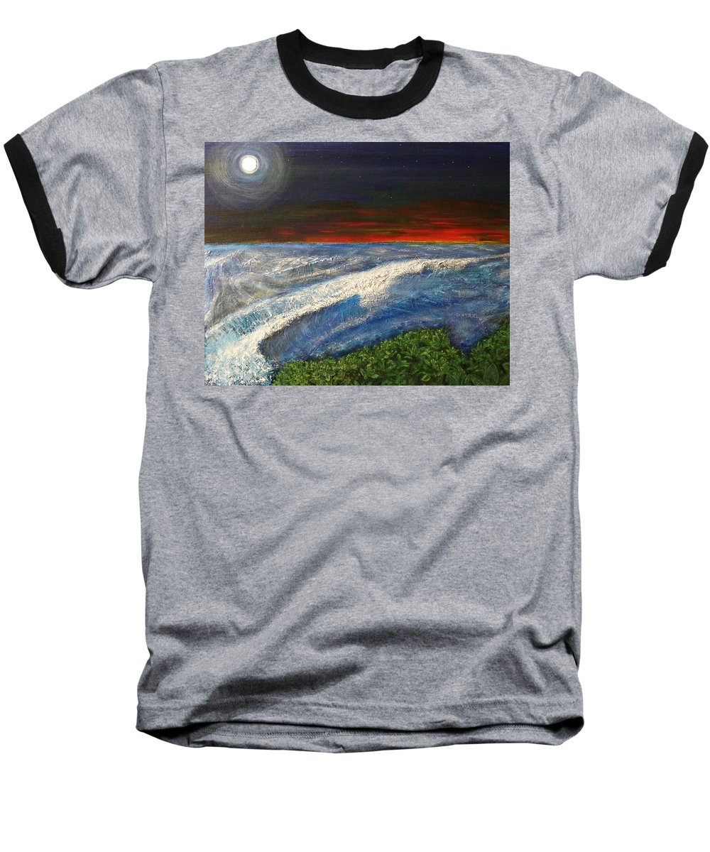 Beaches Baseball T-Shirt featuring the painting Hawiian View by Michael Cuozzo