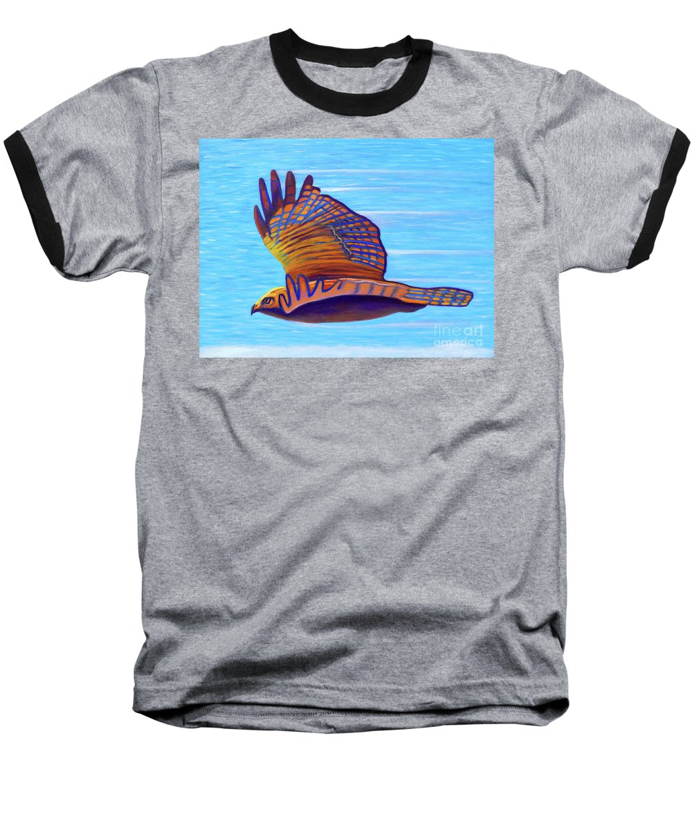 Hawk Baseball T-Shirt featuring the painting Hawk Speed by Brian Commerford