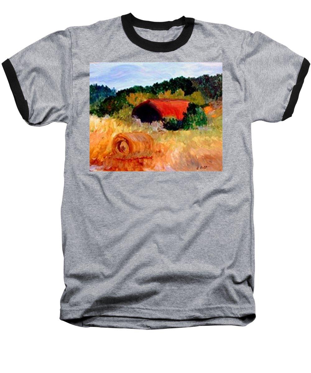 Hayrolls Baseball T-Shirt featuring the painting Hayrolls by Gail Kirtz
