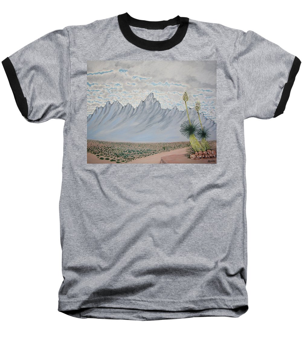 Desertscape Baseball T-Shirt featuring the painting Hazy Desert Day by Marco Morales