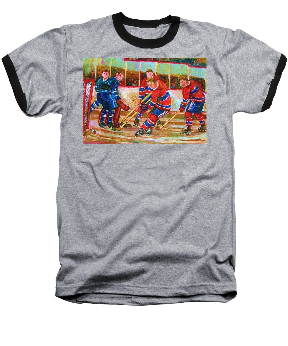 Hockey Baseball T-Shirt featuring the painting He Shoots  He Scores by Carole Spandau
