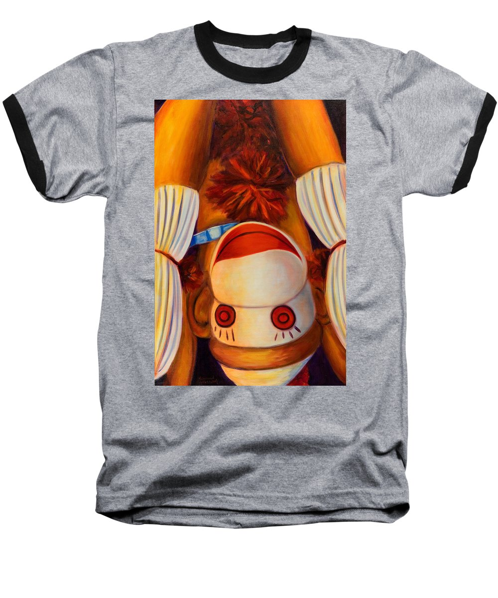 Children Baseball T-Shirt featuring the painting Head-over-heels by Shannon Grissom