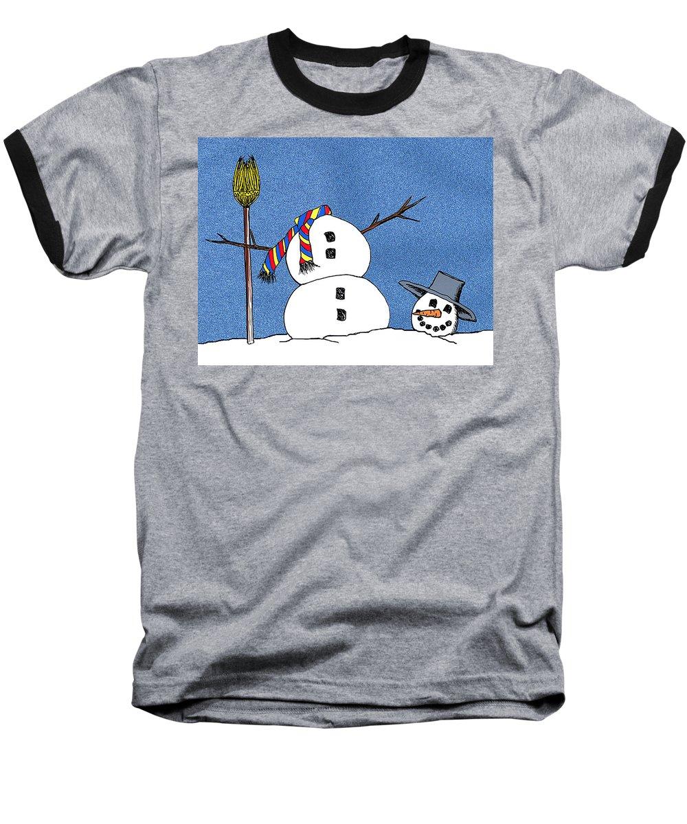 Snowman Baseball T-Shirt featuring the digital art Headless Snowman by Nancy Mueller
