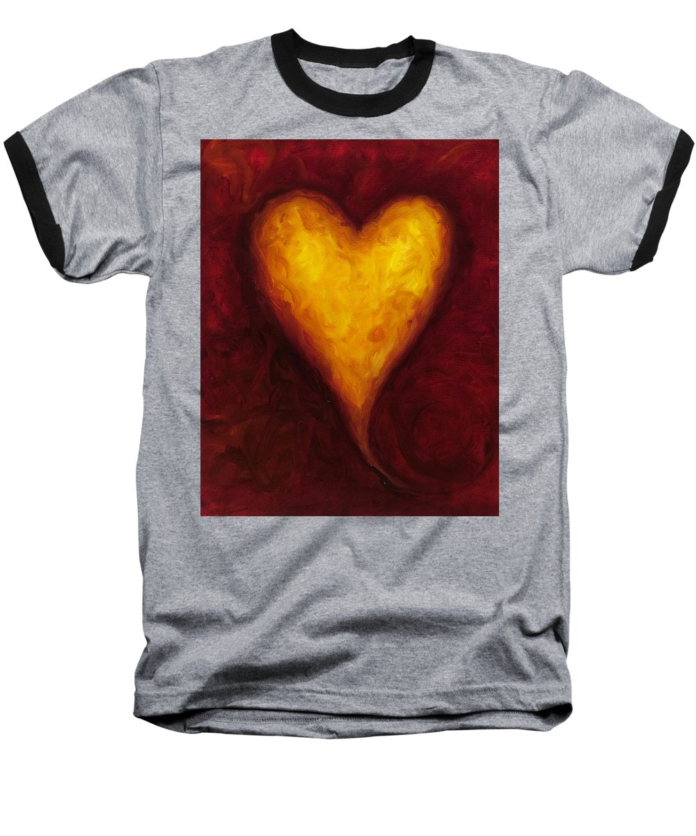 Heart Baseball T-Shirt featuring the painting Heart Of Gold 1 by Shannon Grissom