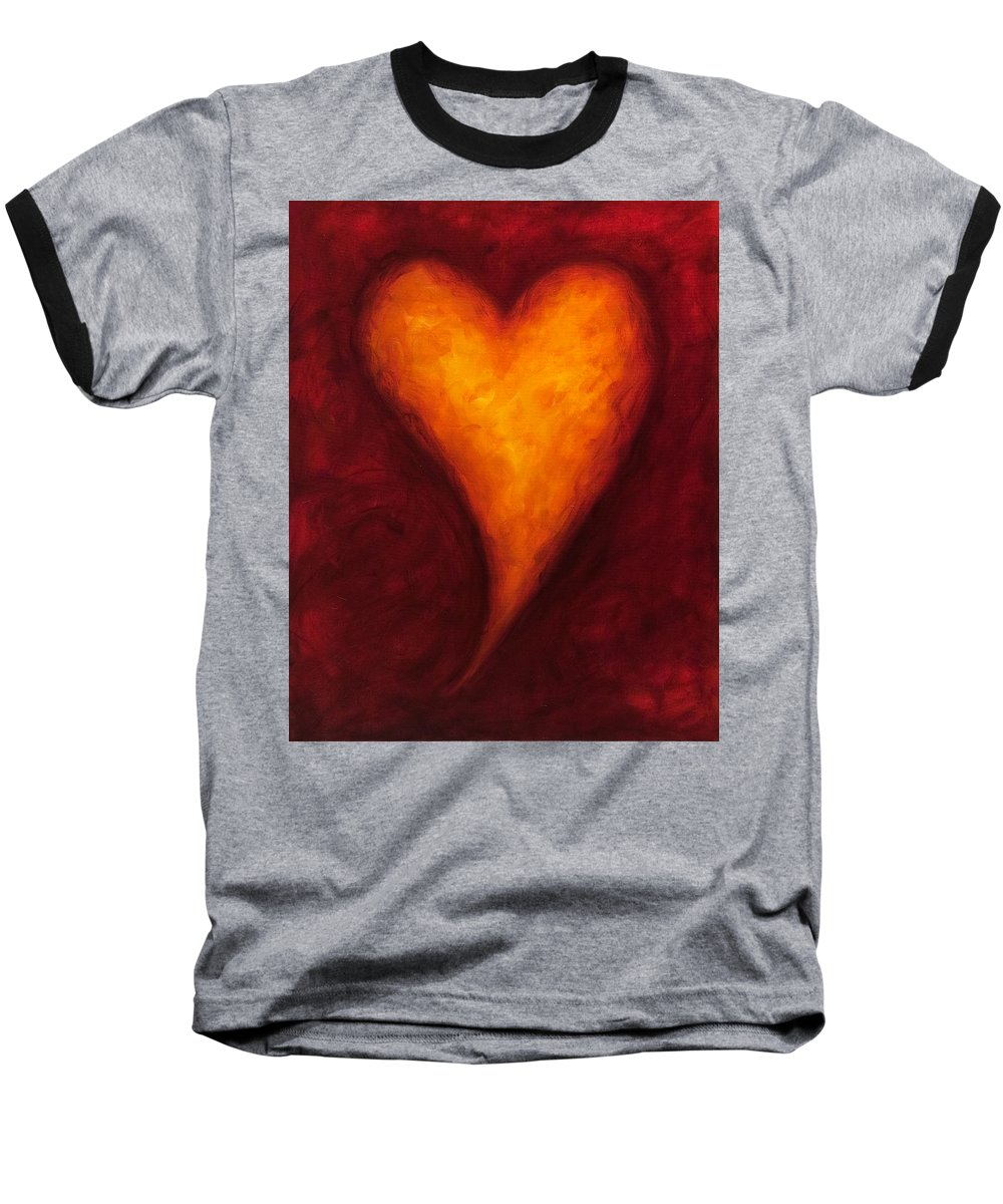 Heart Baseball T-Shirt featuring the painting Heart Of Gold 2 by Shannon Grissom