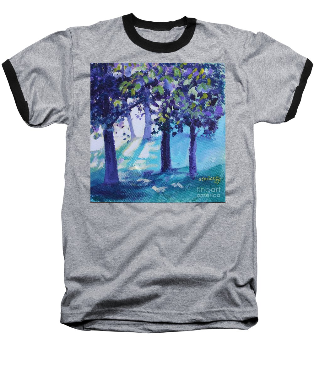 Expressionist Baseball T-Shirt featuring the painting Heart Of The Forest by Jan Bennicoff