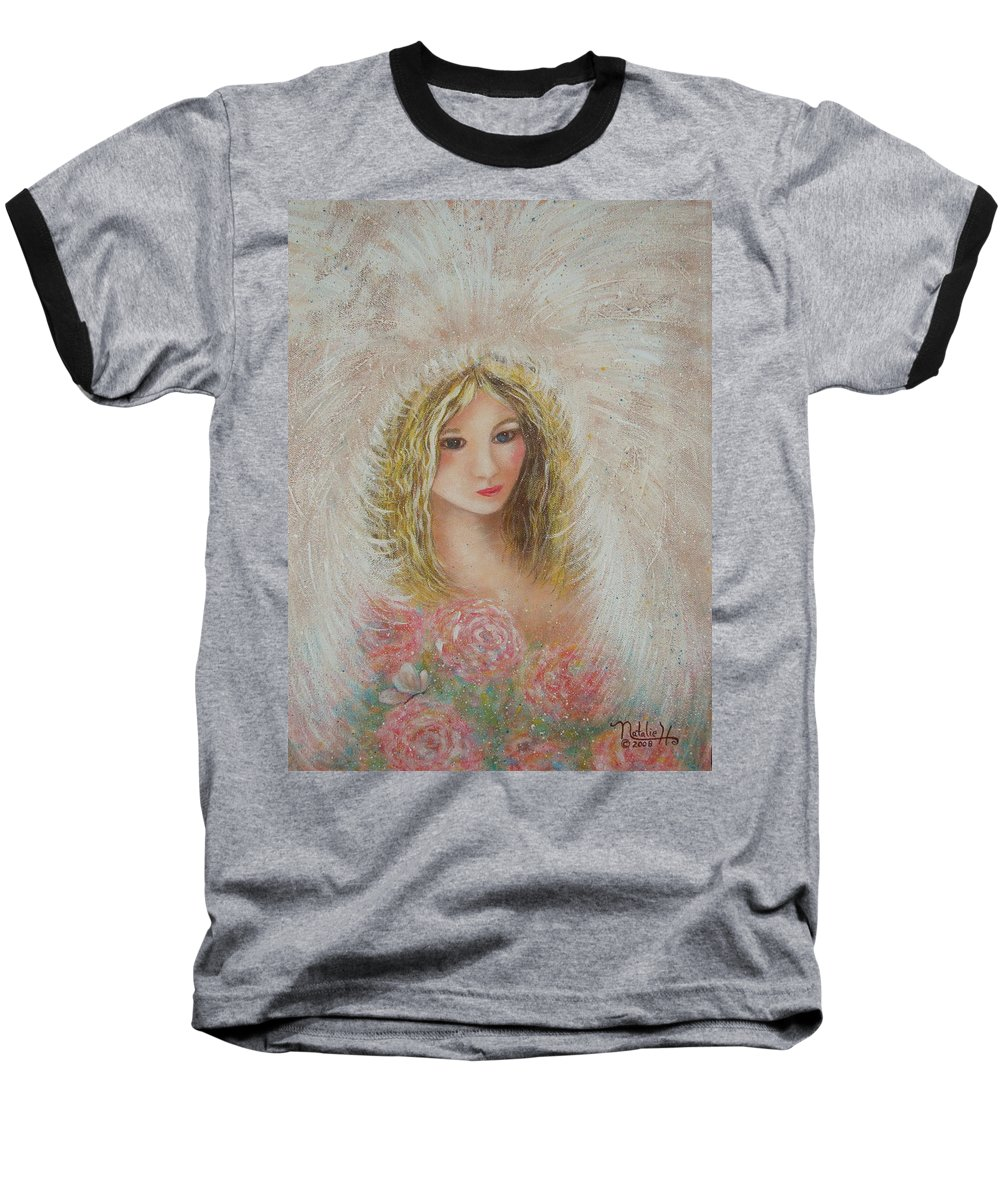 Angel Baseball T-Shirt featuring the painting Heavenly Angel by Natalie Holland