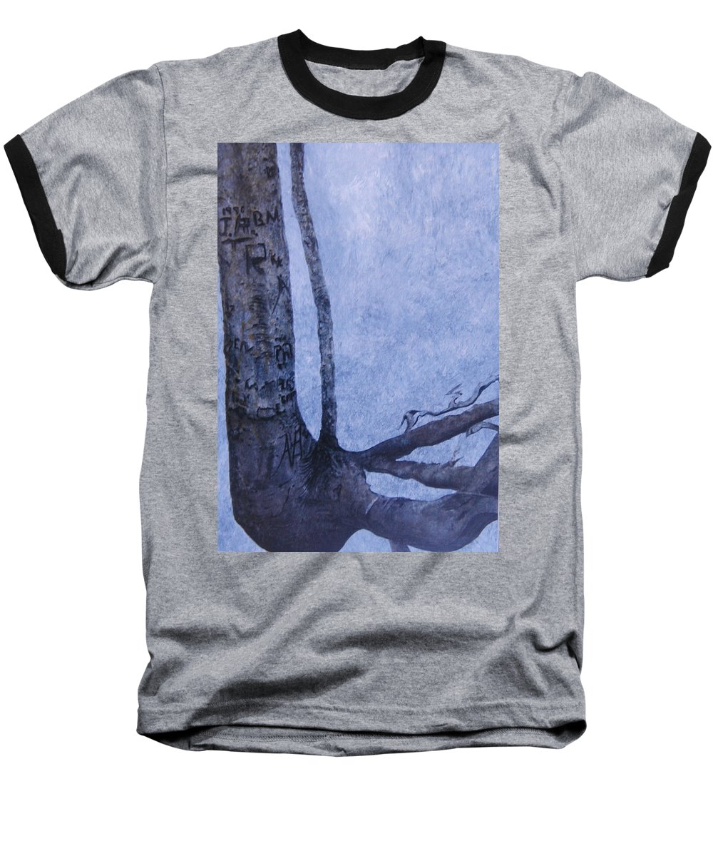 Tree Trunk Baseball T-Shirt featuring the painting Hedden Park II by Leah Tomaino
