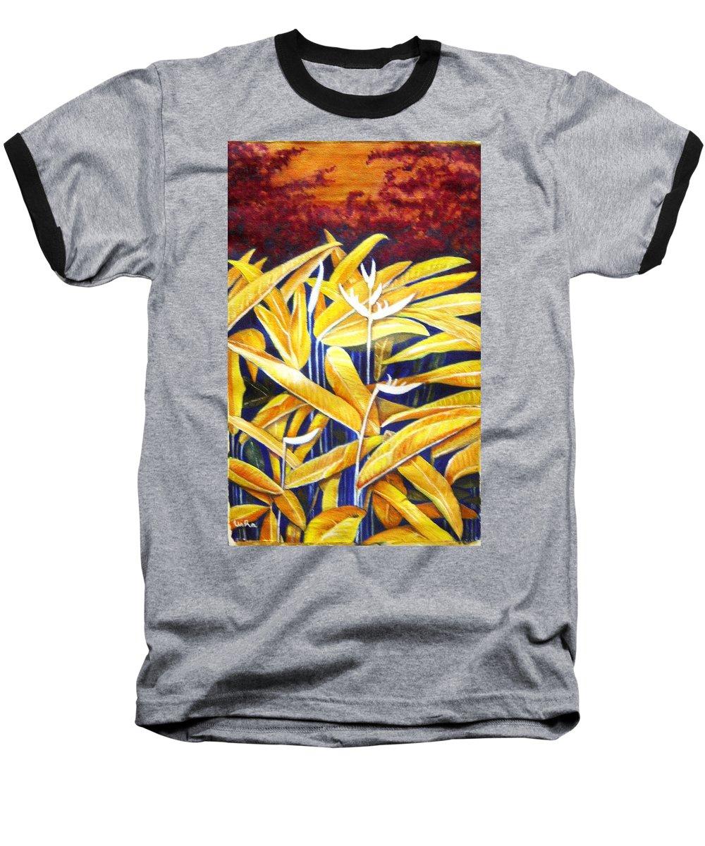 Heliconia Baseball T-Shirt featuring the painting Heliconia by Usha Shantharam