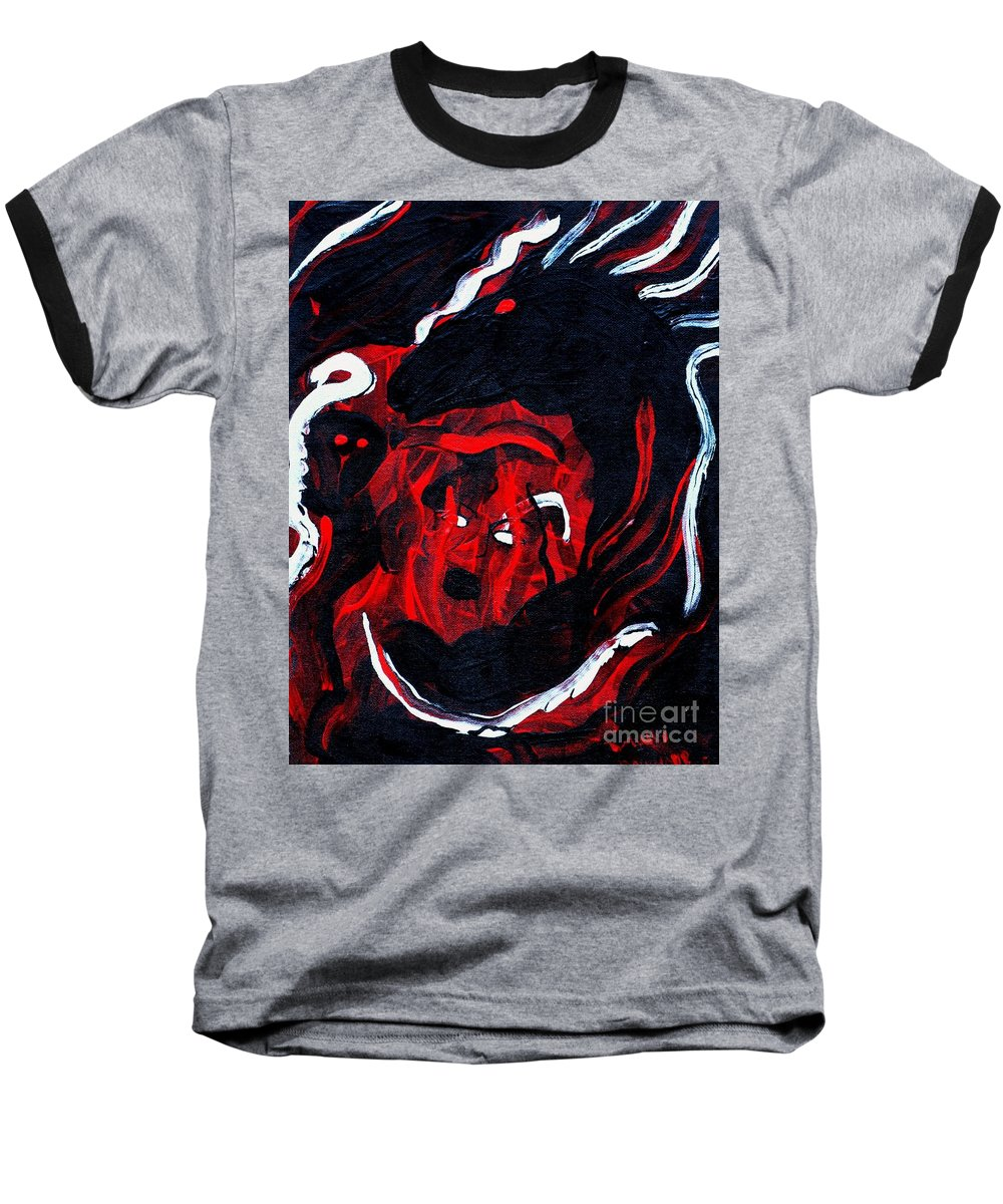 Horse Woman Red Black Silver Baseball T-Shirt featuring the painting Hell Beast by Dawn Downour