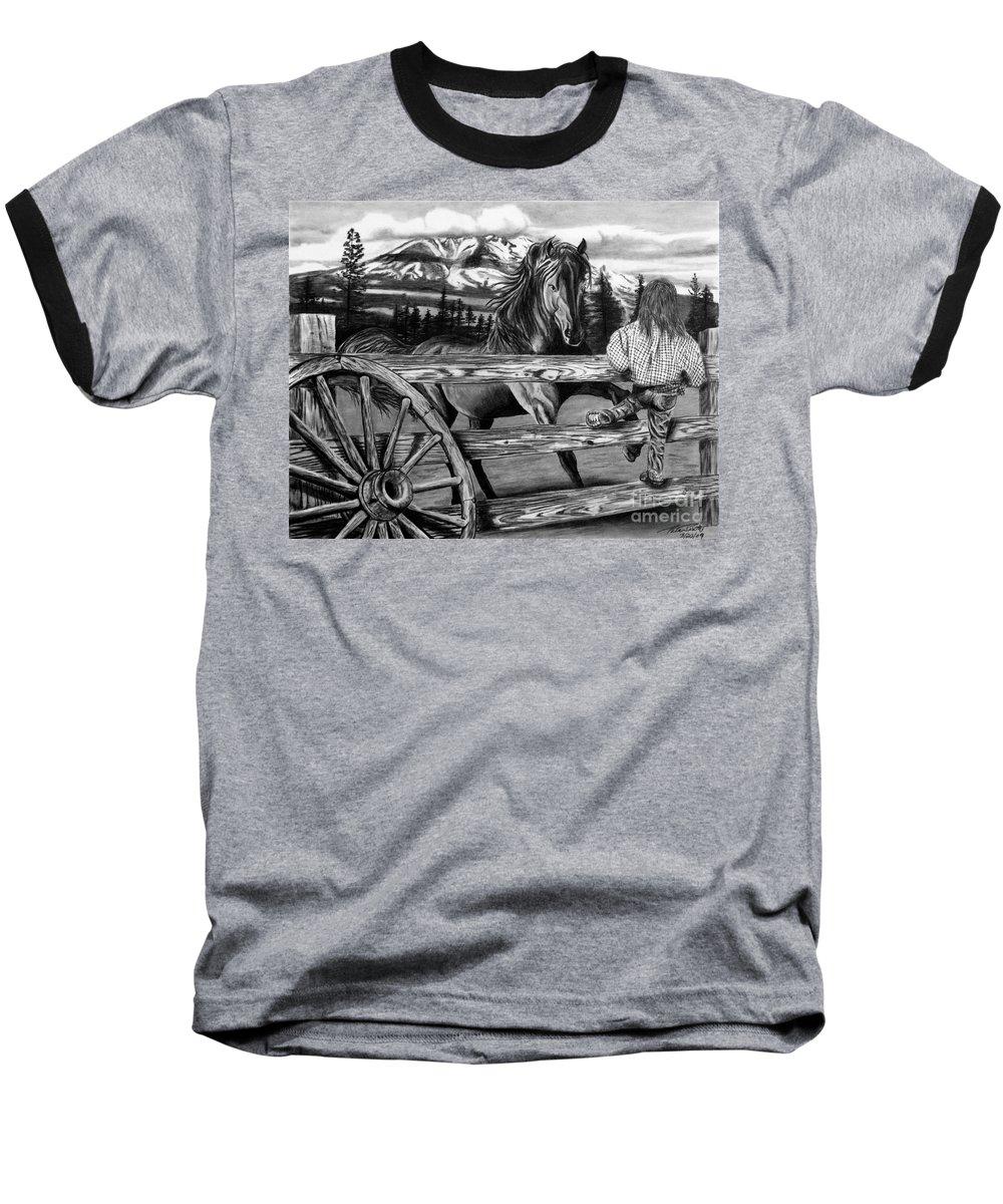 Hello Girl Baseball T-Shirt featuring the drawing Hello Girl by Peter Piatt