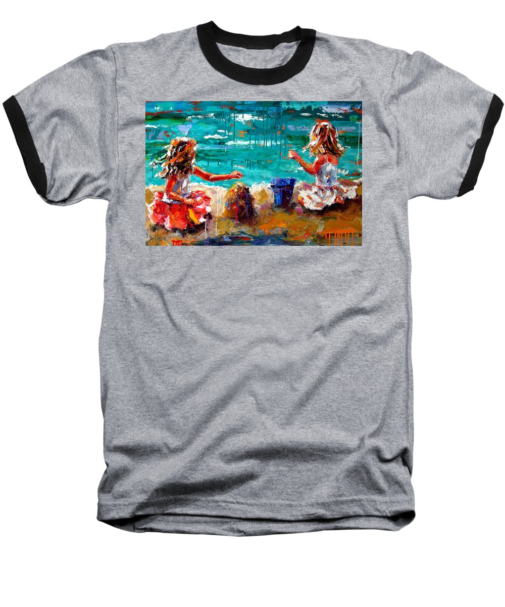 Seascape Baseball T-Shirt featuring the painting Her Blue Bucket by Debra Hurd