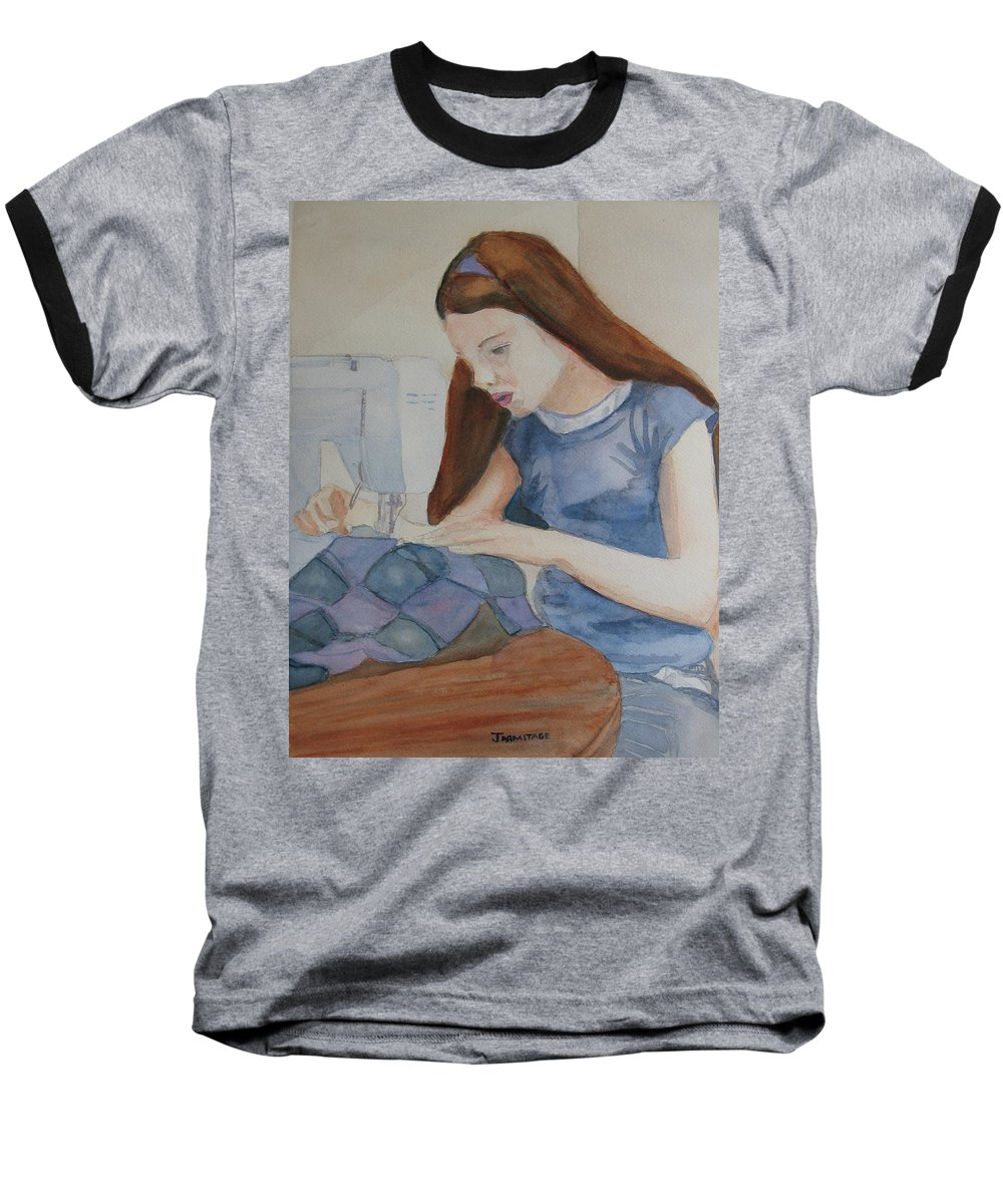 Girl Baseball T-Shirt featuring the painting Her First Quilt by Jenny Armitage