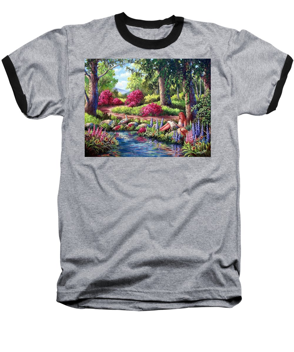 Read Baseball T-Shirt featuring the painting Her Reading Hideaway by David G Paul