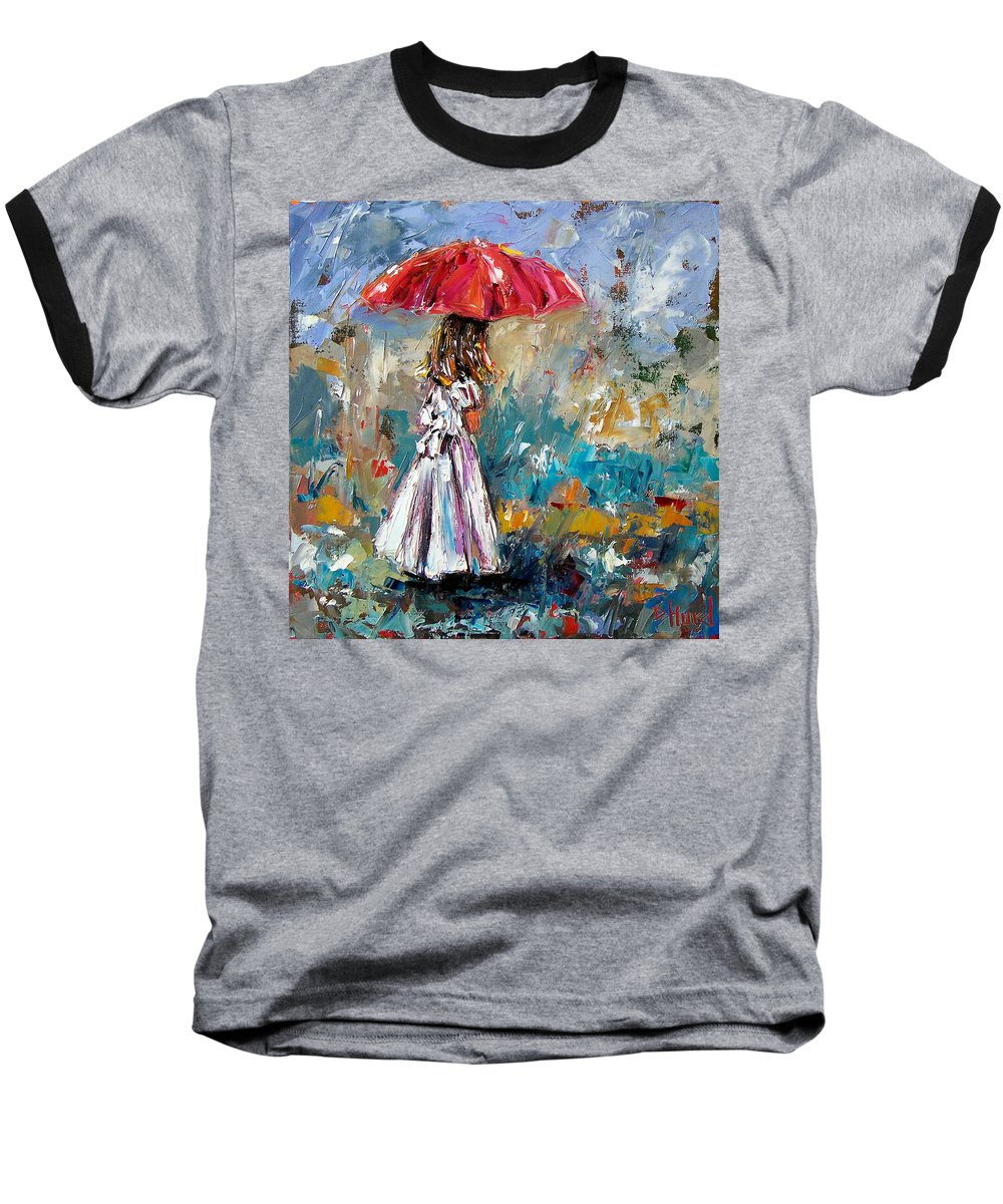 Children Art Baseball T-Shirt featuring the painting Her White Dress by Debra Hurd
