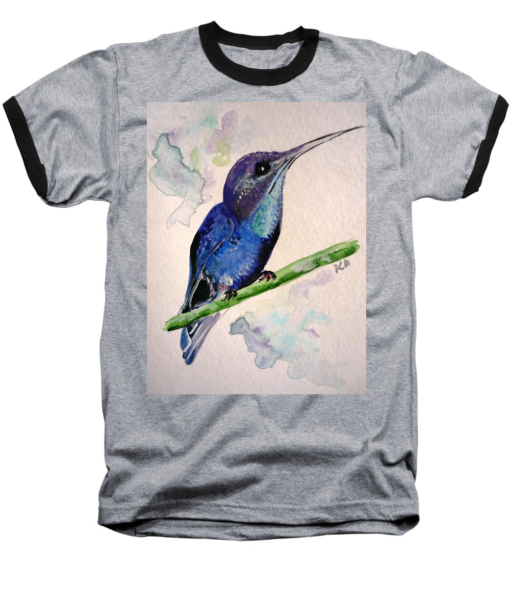 Hummingbird Painting Bird Painting Tropical Caribbean Painting Watercolor Painting Baseball T-Shirt featuring the painting hHUMMINGBIRD 2  by Karin Dawn Kelshall- Best