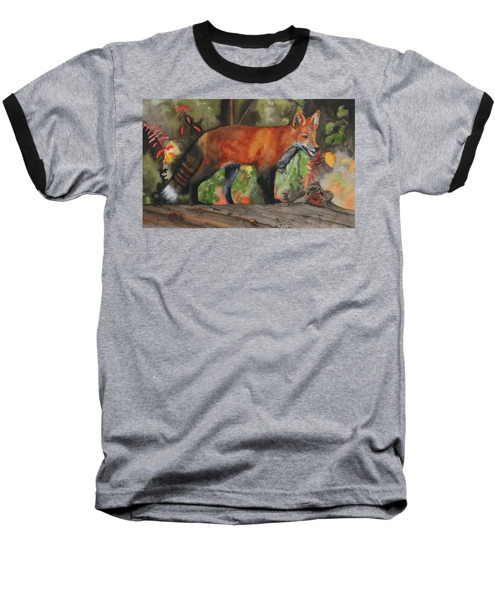 Fox Baseball T-Shirt featuring the painting Hiding In Plain Sight by Jean Blackmer
