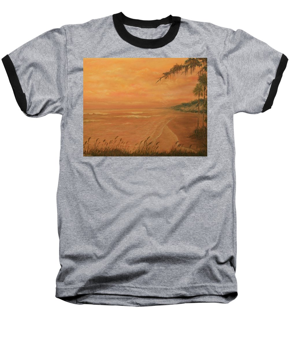 Beach; Ocean; Palm Trees; Water Baseball T-Shirt featuring the painting High Tide by Ben Kiger