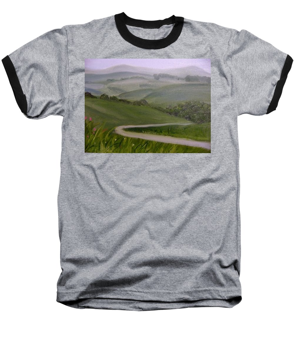 Pathway Baseball T-Shirt featuring the painting Highway Into The Hills by Toni Berry