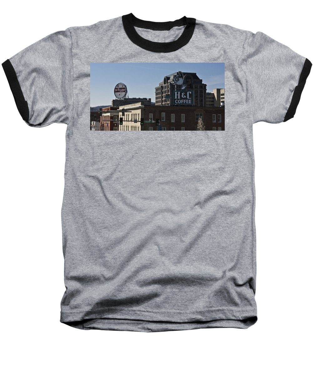 Roanoke Baseball T-Shirt featuring the photograph Historic Landmark Signs Roanoke Virginia by Teresa Mucha