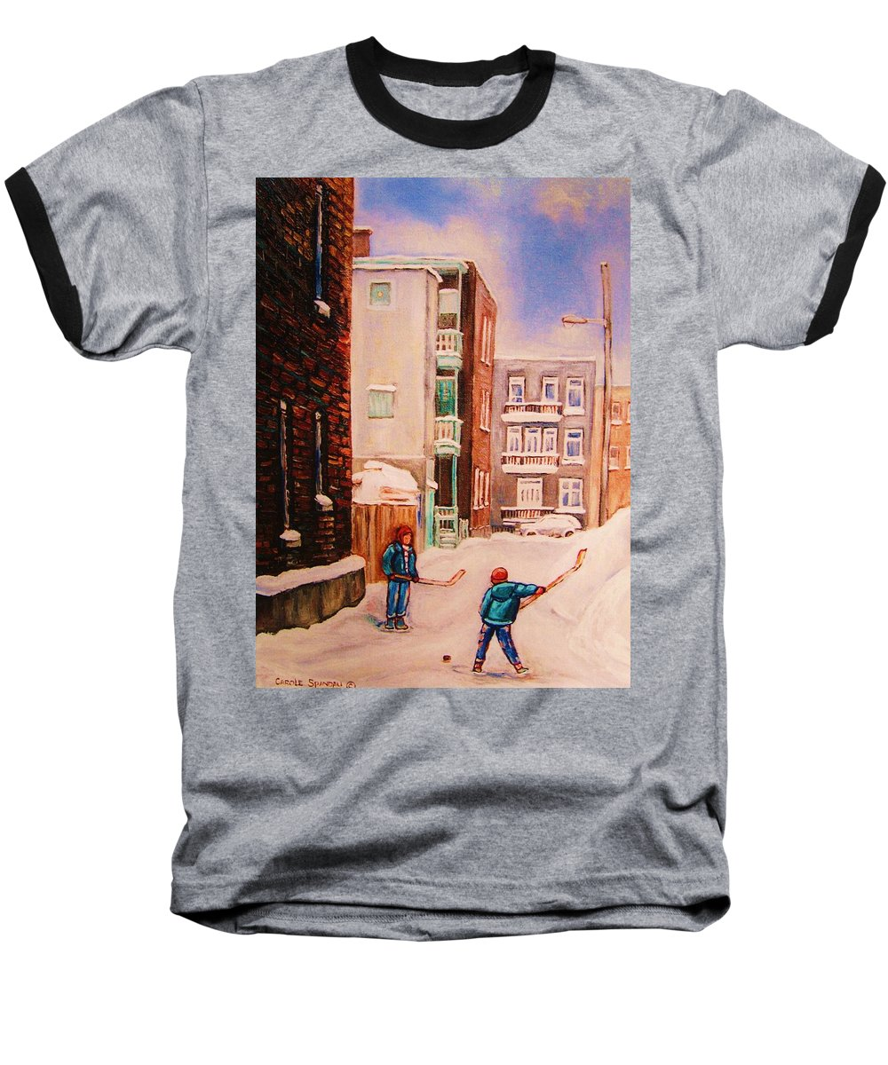 Hockey Baseball T-Shirt featuring the painting Hockey Practice by Carole Spandau
