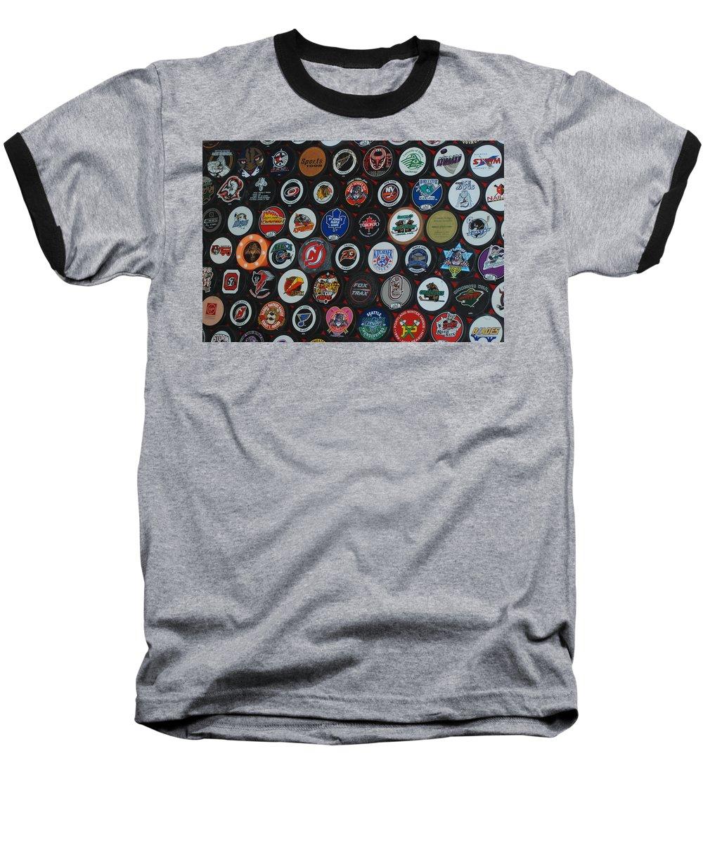 Pop Art Baseball T-Shirt featuring the photograph Hockey Pucks by Rob Hans