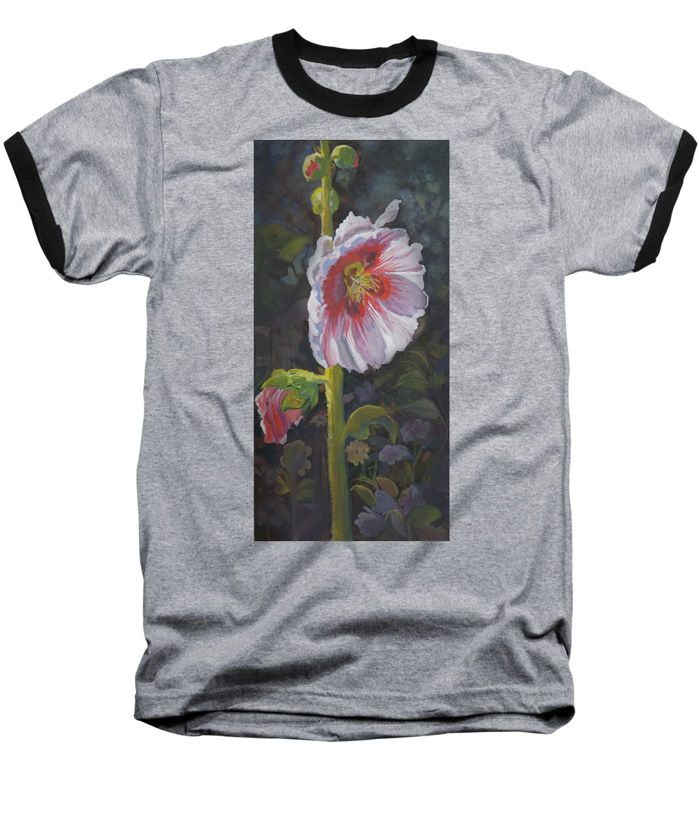 Flower Baseball T-Shirt featuring the painting Hollyhock by Heather Coen