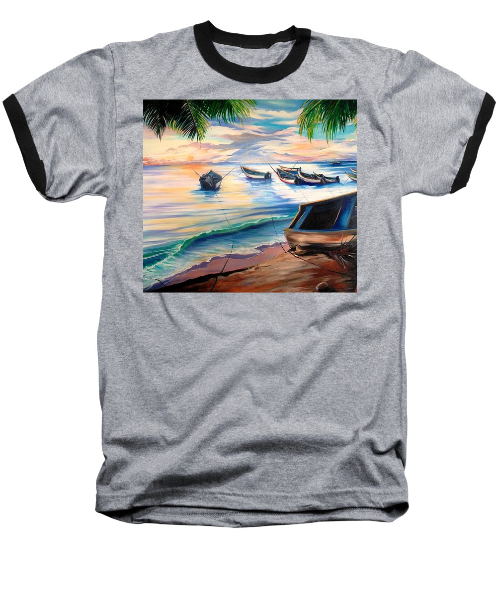 Ocean Painting Caribbean Painting Seascape Painting Beach Painting Fishing Boats Painting Sunset Painting Blue Palm Trees Fisherman Trinidad And Tobago Painting Tropical Painting Baseball T-Shirt featuring the painting Home From The Sea by Karin Dawn Kelshall- Best