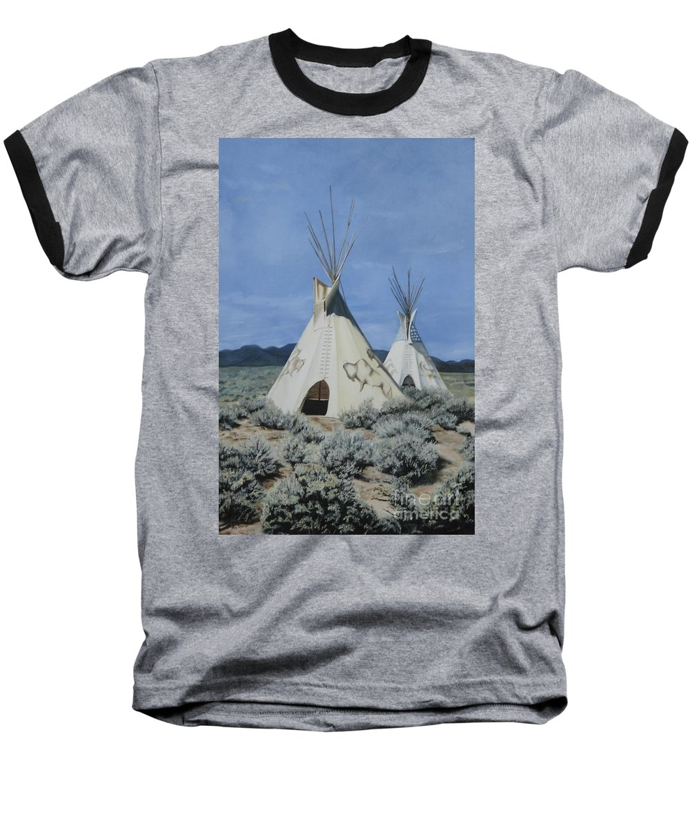 Art Baseball T-Shirt featuring the painting Home On The Range by Mary Rogers